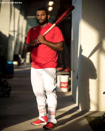 FT. MYERS, FL - FEBRUARY 23: Pablo Sandoval #48 of the Boston Red Sox poses for a photograph before a game against Northeastern University on February 23, 2017 at Fenway South in Fort Myers, Florida . (Photo by Billie Weiss/Boston Red Sox/Getty Images) *** Local Caption *** Pablo Sandoval