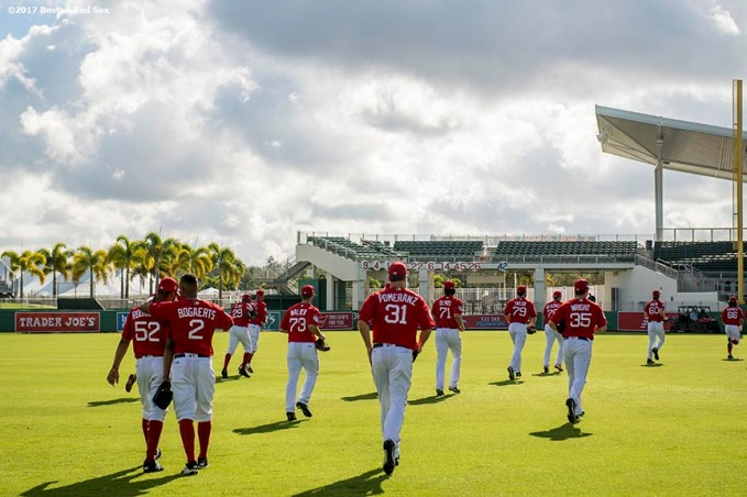 FT. MYERS, FL - FEBRUARY 23: Members of the Boston Red Sox take the field before a game against Northeastern University on February 23, 2017 at Fenway South in Fort Myers, Florida . (Photo by Billie Weiss/Boston Red Sox/Getty Images) *** Local Caption ***