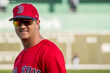 FT. MYERS, FL - FEBRUARY 23: Steven Wright #35 of the Boston Red Sox reacts before a game against Northeastern University on February 23, 2017 at Fenway South in Fort Myers, Florida . (Photo by Billie Weiss/Boston Red Sox/Getty Images) *** Local Caption *** Steven Wright
