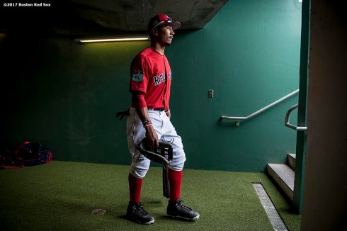 FT. MYERS, FL - FEBRUARY 23: Mookie Betts #50 of the Boston Red Sox walks through the tunnel before a game against Northeastern University on February 23, 2017 at Fenway South in Fort Myers, Florida . (Photo by Billie Weiss/Boston Red Sox/Getty Images) *** Local Caption *** Mookie Betts