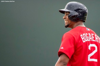FT. MYERS, FL - FEBRUARY 23: Xander Bogaerts #2 of the Boston Red Sox reacts during the first inning of a game against Northeastern University on February 23, 2017 at Fenway South in Fort Myers, Florida . (Photo by Billie Weiss/Boston Red Sox/Getty Images) *** Local Caption *** Xander Bogaerts