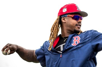 FT. MYERS, FL - FEBRUARY 24: Hanley Ramirez #13 of the Boston Red Sox warms up before a game against the New York Mets on February 24, 2017 at Fenway South in Fort Myers, Florida . (Photo by Billie Weiss/Boston Red Sox/Getty Images) *** Local Caption *** Hanley Ramirez