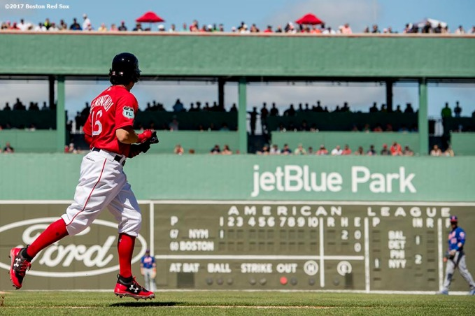 FT. MYERS, FL - FEBRUARY 24: Andrew Benintendi #16 of the Boston Red Sox walks during the first inning of a game against the New York Mets on February 24, 2017 at Fenway South in Fort Myers, Florida . (Photo by Billie Weiss/Boston Red Sox/Getty Images) *** Local Caption *** Andrew Benintendi