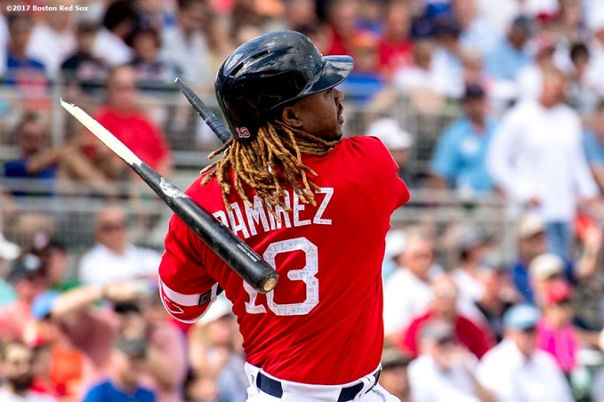 FT. MYERS, FL - FEBRUARY 24: Hanley Ramirez #13 of the Boston Red Sox breaks his bat during the third inning of a game against the New York Mets on February 24, 2017 at Fenway South in Fort Myers, Florida . (Photo by Billie Weiss/Boston Red Sox/Getty Images) *** Local Caption *** Hanley Ramirez