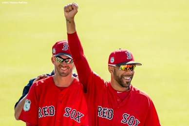 FT. MYERS, FL - FEBRUARY 25: Rick Porcello #22 and David Price #24 of the Boston Red Sox react before a game against the Minnesota Twins on February 25, 2017 at Fenway South in Fort Myers, Florida . (Photo by Billie Weiss/Boston Red Sox/Getty Images) *** Local Caption *** Rick Porcello; David Price