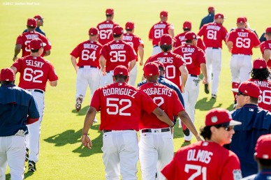 FT. MYERS, FL - FEBRUARY 25: Members of the Boston Red Sox warm up before a game against the Minnesota Twins on February 25, 2017 at Fenway South in Fort Myers, Florida . (Photo by Billie Weiss/Boston Red Sox/Getty Images) *** Local Caption ***