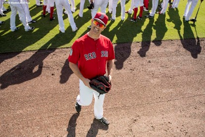 FT. MYERS, FL - FEBRUARY 25: Steven Wright #35 of the Boston Red Sox reacts before a game against the Minnesota Twins on February 25, 2017 at Fenway South in Fort Myers, Florida . (Photo by Billie Weiss/Boston Red Sox/Getty Images) *** Local Caption *** Steven Wright