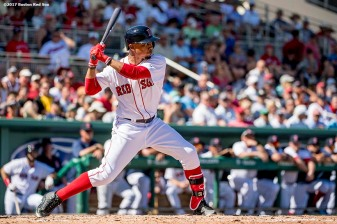FT. MYERS, FL - FEBRUARY 25: Mookie Betts #50 of the Boston Red Sox bats during the first inning of a spring training game against the Minnesota Twins on February 25, 2017 at Fenway South in Fort Myers, Florida . (Photo by Billie Weiss/Boston Red Sox/Getty Images) *** Local Caption *** Mookie Betts