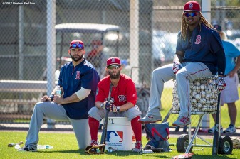 FT. MYERS, FL - FEBRUARY 26: Mitch Moreland #18, Dustin Pedroia #15, and Hanley Ramirez #13 of the Boston Red Sox look on during a team workout on February 26, 2017 at Fenway South in Fort Myers, Florida . (Photo by Billie Weiss/Boston Red Sox/Getty Images) *** Local Caption *** Mitch Moreland; Hanley Ramirez; Dustin Pedroia