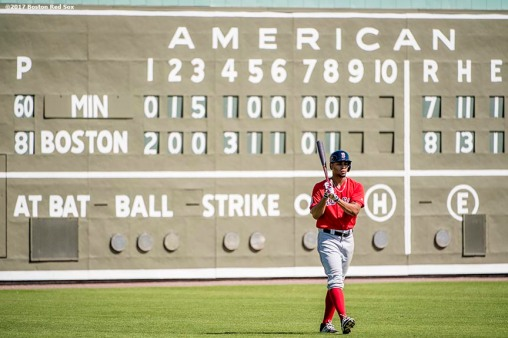 FT. MYERS, FL - FEBRUARY 26: Xander Bogaerts #2 of the Boston Red Sox walks onto the field before participating in a simulated game during a team workout on February 26, 2017 at Fenway South in Fort Myers, Florida . (Photo by Billie Weiss/Boston Red Sox/Getty Images) *** Local Caption *** Xander Bogaerts