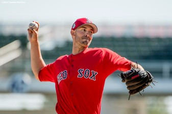 FT. MYERS, FL - FEBRUARY 26: Rick Porcello #22 of the Boston Red Sox pitches in a simulated game during a team workout on February 26, 2017 at Fenway South in Fort Myers, Florida . (Photo by Billie Weiss/Boston Red Sox/Getty Images) *** Local Caption *** Rick Porcello