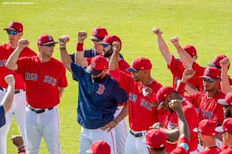 FT. MYERS, FL - FEBRUARY 27: Members of the Boston Red Sox react before a Spring Training game against the St. Louis Cardinals on February 27, 2017 at Fenway South in Fort Myers, Florida . (Photo by Billie Weiss/Boston Red Sox/Getty Images) *** Local Caption ***