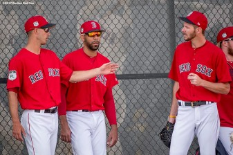 FT. MYERS, FL - FEBRUARY 27: Rick Porcello #22, David Price #24, and Chris Sale #41 of the Boston Red Sox talk before a Spring Training game against the St. Louis Cardinals on February 27, 2017 at Fenway South in Fort Myers, Florida . (Photo by Billie Weiss/Boston Red Sox/Getty Images) *** Local Caption *** Rick Porcello; David Price; Chris Sale