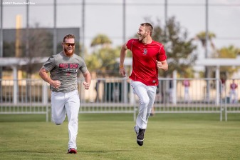 FT. MYERS, FL - FEBRUARY 27: Craig Kimbrel #46 of the Boston Red Sox runs sprints with Chris Sale #41 before a Spring Training game against the St. Louis Cardinals on February 27, 2017 at Fenway South in Fort Myers, Florida . (Photo by Billie Weiss/Boston Red Sox/Getty Images) *** Local Caption *** Craig Kimbrel; Chris Sale