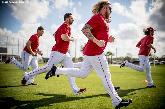 FT. MYERS, FL - FEBRUARY 27: Robbie Ross Jr. #28 of the Boston Red Sox runs sprints before a Spring Training game against the St. Louis Cardinals on February 27, 2017 at Fenway South in Fort Myers, Florida . (Photo by Billie Weiss/Boston Red Sox/Getty Images) *** Local Caption *** Robbie Ross Jr.