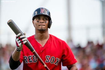 FT. MYERS, FL - FEBRUARY 27: Xander Bogaerts #2 of the Boston Red Sox looks on during the first inning of a Spring Training game against the St. Louis Cardinals on February 27, 2017 at Fenway South in Fort Myers, Florida . (Photo by Billie Weiss/Boston Red Sox/Getty Images) *** Local Caption *** Xander Bogaerts
