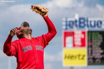 FT. MYERS, FL - FEBRUARY 27: Pablo Sandoval #48 of the Boston Red Sox prepares to catch a fly ballduring the second inning of a Spring Training game against the St. Louis Cardinals on February 27, 2017 at Fenway South in Fort Myers, Florida . (Photo by Billie Weiss/Boston Red Sox/Getty Images) *** Local Caption *** Pablo Sandoval