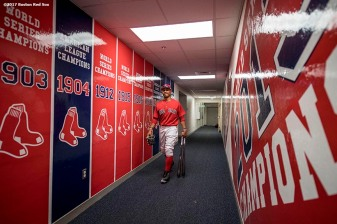 FT. MYERS, FL - FEBRUARY 27: Mookie Betts #50 of the Boston Red Sox walks through the hallway before a Spring Training game against the St. Louis Cardinals on February 27, 2017 at Fenway South in Fort Myers, Florida . (Photo by Billie Weiss/Boston Red Sox/Getty Images) *** Local Caption *** Mookie Betts