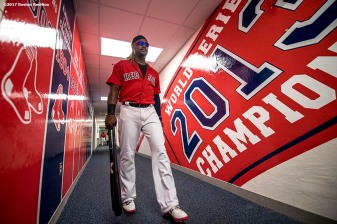FT. MYERS, FL - FEBRUARY 27: Hanley Ramirez #13 of the Boston Red Sox walks through the hallway before a Spring Training game against the St. Louis Cardinals on February 27, 2017 at Fenway South in Fort Myers, Florida . (Photo by Billie Weiss/Boston Red Sox/Getty Images) *** Local Caption *** Hanley Ramirez