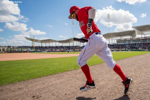 FT. MYERS, FL - FEBRUARY 27: Dustin Pedroia #15 of the Boston Red Sox takes the field before a Spring Training game against the St. Louis Cardinals on February 27, 2017 at Fenway South in Fort Myers, Florida . (Photo by Billie Weiss/Boston Red Sox/Getty Images) *** Local Caption *** Dustin Pedroia