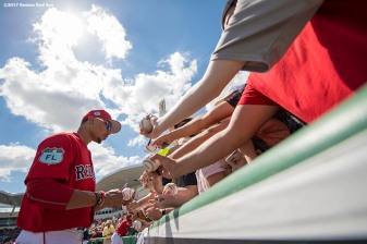 FT. MYERS, FL - FEBRUARY 27: Mookie Betts #50 of the Boston Red Sox signs autographs before a Spring Training game against the St. Louis Cardinals on February 27, 2017 at Fenway South in Fort Myers, Florida . (Photo by Billie Weiss/Boston Red Sox/Getty Images) *** Local Caption *** Mookie Betts