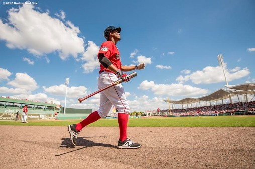 FT. MYERS, FL - FEBRUARY 27: Xander Bogaerts #2 of the Boston Red Sox walks on deck during the third inning of a Spring Training game against the St. Louis Cardinals on February 27, 2017 at Fenway South in Fort Myers, Florida . (Photo by Billie Weiss/Boston Red Sox/Getty Images) *** Local Caption *** Xander Bogaerts