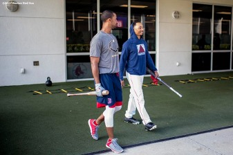 FT. MYERS, FL - FEBRUARY 28: Chris Young #30 and Mookie Betts #50 of the Boston Red Sox walk out of the batting cage before a Spring Training game against the New York Yankees on February 28, 2017 at Fenway South in Fort Myers, Florida . (Photo by Billie Weiss/Boston Red Sox/Getty Images) *** Local Caption *** Chris Young; Mookie Betts