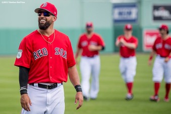 FT. MYERS, FL - FEBRUARY 28: Deven Marrero #17 of the Boston Red Sox reacts before a Spring Training game against the New York Yankees on February 28, 2017 at Fenway South in Fort Myers, Florida . (Photo by Billie Weiss/Boston Red Sox/Getty Images) *** Local Caption *** Deven Marrero
