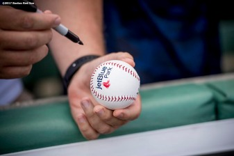 FT. MYERS, FL - FEBRUARY 28: A fan holds a baseball as he waits for an autograph before a Spring Training game between the Boston Red Sox and the New York Yankees on February 28, 2017 at Fenway South in Fort Myers, Florida . (Photo by Billie Weiss/Boston Red Sox/Getty Images) *** Local Caption ***