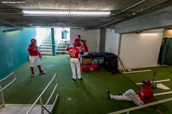 FT. MYERS, FL - FEBRUARY 28: Members of the Boston Red Sox stretch before a Spring Training game against the New York Yankees on February 28, 2017 at Fenway South in Fort Myers, Florida . (Photo by Billie Weiss/Boston Red Sox/Getty Images) *** Local Caption ***
