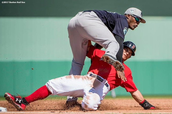 FT. MYERS, FL - FEBRUARY 28: Andrew Benintendi #16 of the Boston Red Sox is tagged out as he attempts to steal third base during the first inning of a Spring Training game against the New York Yankees on February 28, 2017 at Fenway South in Fort Myers, Florida . (Photo by Billie Weiss/Boston Red Sox/Getty Images) *** Local Caption *** Andrew Benintendi