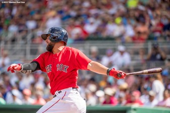 FT. MYERS, FL - FEBRUARY 28: Deven Marrero #17 of the Boston Red Sox hits an RBI double during the second inning of a Spring Training game against the New York Yankees on February 28, 2017 at Fenway South in Fort Myers, Florida . (Photo by Billie Weiss/Boston Red Sox/Getty Images) *** Local Caption *** Deven Marrero