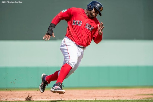 FT. MYERS, FL - FEBRUARY 28: Pablo Sandoval #48 of the Boston Red Sox rounds the bases as he scores during the second inning of a Spring Training game against the New York Yankees on February 28, 2017 at Fenway South in Fort Myers, Florida . (Photo by Billie Weiss/Boston Red Sox/Getty Images) *** Local Caption *** Pablo Sandoval