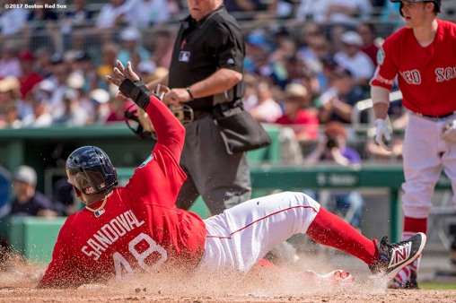 FT. MYERS, FL - FEBRUARY 28: Pablo Sandoval #48 of the Boston Red Sox slides into home plate as he scores during the second inning of a Spring Training game against the New York Yankees on February 28, 2017 at Fenway South in Fort Myers, Florida . (Photo by Billie Weiss/Boston Red Sox/Getty Images) *** Local Caption *** Pablo Sandoval