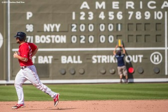 FT. MYERS, FL - FEBRUARY 28: Sam Travis #59 of the Boston Red Sox rounds the bases after hitting a solo home run during the sixth inning of a Spring Training game against the New York Yankees on February 28, 2017 at Fenway South in Fort Myers, Florida . (Photo by Billie Weiss/Boston Red Sox/Getty Images) *** Local Caption *** Sam Travis