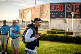 FT. MYERS, FL - MARCH 2: Mookie Betts #50 of the Boston Red Sox arrives at jetBlue Park for a Spring Training game against the Tampa Bay Rays on March 2, 2017 at Fenway South in Fort Myers, Florida . (Photo by Billie Weiss/Boston Red Sox/Getty Images) *** Local Caption *** Mookie Betts