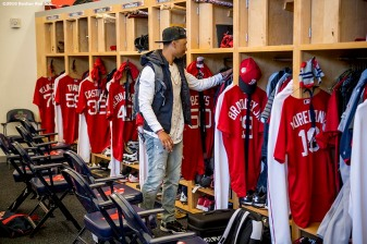 FT. MYERS, FL - MARCH 2: Mookie Betts #50 of the Boston Red Sox walks into the clubhouse as he arrives at jetBlue Park for a Spring Training game against the Tampa Bay Rays on March 2, 2017 at Fenway South in Fort Myers, Florida . (Photo by Billie Weiss/Boston Red Sox/Getty Images) *** Local Caption *** Mookie Betts