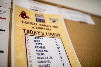FT. MYERS, FL - MARCH 2: The starting lineup is posted on the board before a Spring Training game between the Boston Red Sox and the Tampa Bay Rays on March 2, 2017 at Fenway South in Fort Myers, Florida . (Photo by Billie Weiss/Boston Red Sox/Getty Images) *** Local Caption ***