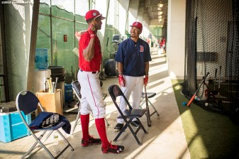 FT. MYERS, FL - MARCH 2: Mookie Betts #50 of the Boston Red Sox talks with Chris Young #30 in the batting cage before a Spring Training game against the Tampa Bay Rays on March 2, 2017 at Fenway South in Fort Myers, Florida . (Photo by Billie Weiss/Boston Red Sox/Getty Images) *** Local Caption *** Mookie Betts; Chris Young