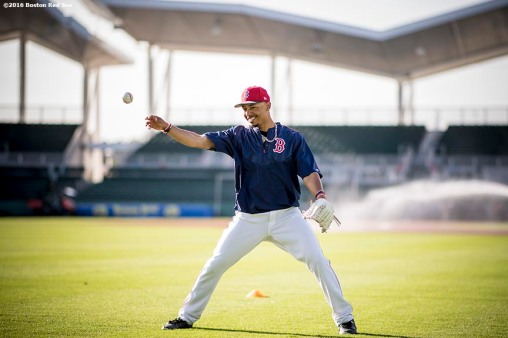 FT. MYERS, FL - MARCH 2: Mookie Betts #50 of the Boston Red Sox reacts as he plays catch on the field before a Spring Training game against the Tampa Bay Rays on March 2, 2017 at Fenway South in Fort Myers, Florida . (Photo by Billie Weiss/Boston Red Sox/Getty Images) *** Local Caption *** Mookie Betts