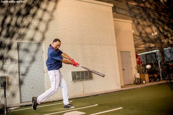 FT. MYERS, FL - MARCH 2: Mookie Betts #50 of the Boston Red Sox takes swings in the batting cage before a Spring Training game against the Tampa Bay Rays on March 2, 2017 at Fenway South in Fort Myers, Florida . (Photo by Billie Weiss/Boston Red Sox/Getty Images) *** Local Caption *** Mookie Betts