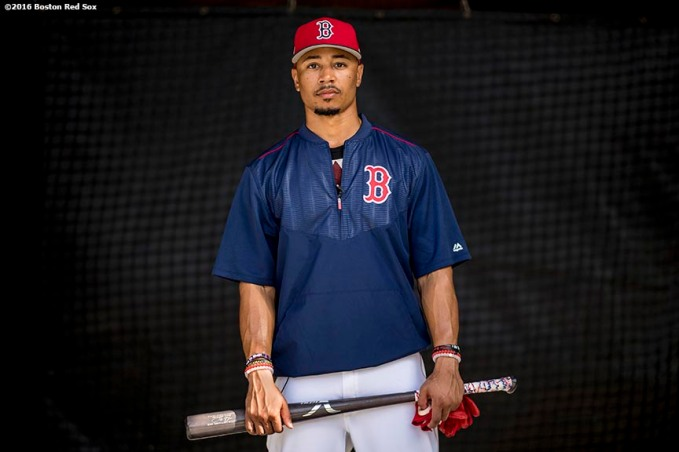 FT. MYERS, FL - MARCH 2: Mookie Betts #50 of the Boston Red Sox poses for a portrait in the batting cage before a Spring Training game against the Tampa Bay Rays on March 2, 2017 at Fenway South in Fort Myers, Florida . (Photo by Billie Weiss/Boston Red Sox/Getty Images) *** Local Caption *** Mookie Betts