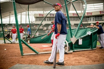 FT. MYERS, FL - MARCH 2: Mookie Betts #50 of the Boston Red Sox looks on during batting practice before a Spring Training game against the Tampa Bay Rays on March 2, 2017 at Fenway South in Fort Myers, Florida . (Photo by Billie Weiss/Boston Red Sox/Getty Images) *** Local Caption *** Mookie Betts