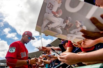 FT. MYERS, FL - MARCH 2: Mookie Betts #50 of the Boston Red Sox signs autographs before a Spring Training game against the Tampa Bay Rays on March 2, 2017 at Fenway South in Fort Myers, Florida . (Photo by Billie Weiss/Boston Red Sox/Getty Images) *** Local Caption *** Mookie Betts