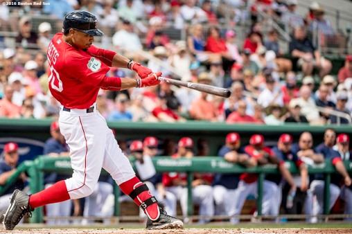 FT. MYERS, FL - MARCH 2: Mookie Betts #50 of the Boston Red Sox bats during the third inning of a Spring Training game against the Tampa Bay Rays on March 2, 2017 at Fenway South in Fort Myers, Florida . (Photo by Billie Weiss/Boston Red Sox/Getty Images) *** Local Caption *** Mookie Betts
