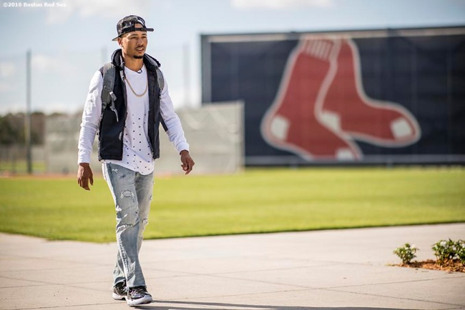 FT. MYERS, FL - MARCH 2: Mookie Betts #50 of the Boston Red Sox walks toward the parking lot as he exits jetBlue Park after a Spring Training game against the Tampa Bay Rays on March 2, 2017 at Fenway South in Fort Myers, Florida . (Photo by Billie Weiss/Boston Red Sox/Getty Images) *** Local Caption *** Mookie Betts
