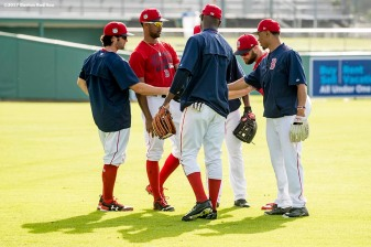 FT. MYERS, FL - MARCH 2: Chris Young #30, Andrew Benintendi #16, and Mookie Betts #50 among other outfielders of the Boston Red Sox talk before a Spring Training game against the Tampa Bay Rays on March 2, 2017 at Fenway South in Fort Myers, Florida . (Photo by Billie Weiss/Boston Red Sox/Getty Images) *** Local Caption *** Chris Young; Andrew Benintendi; Mookie Betts