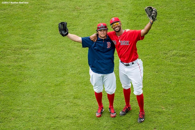 FT. MYERS, FL - MARCH 2: Chris Young #30 and Andrew Benintendi #16 of the Boston Red Sox pose for a photograph before a Spring Training game against the Tampa Bay Rays on March 2, 2017 at Fenway South in Fort Myers, Florida . (Photo by Billie Weiss/Boston Red Sox/Getty Images) *** Local Caption *** Chris Young; Andrew Benintendi