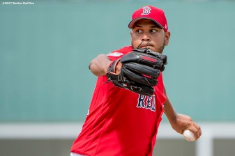 FT. MYERS, FL - MARCH 2: Eduardo Rodriguez #52 of the Boston Red Sox delivers during the second nning of a Spring Training game against the Tampa Bay Rays on March 2, 2017 at Fenway South in Fort Myers, Florida . (Photo by Billie Weiss/Boston Red Sox/Getty Images) *** Local Caption *** Eduardo Rodriguez