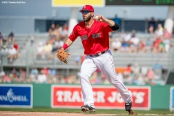FT. MYERS, FL - MARCH 2: Mitch Moreland #18 of the Boston Red Sox throws the ball during the third inning of a Spring Training game against the Tampa Bay Rays on March 2, 2017 at Fenway South in Fort Myers, Florida . (Photo by Billie Weiss/Boston Red Sox/Getty Images) *** Local Caption *** Mitch Moreland